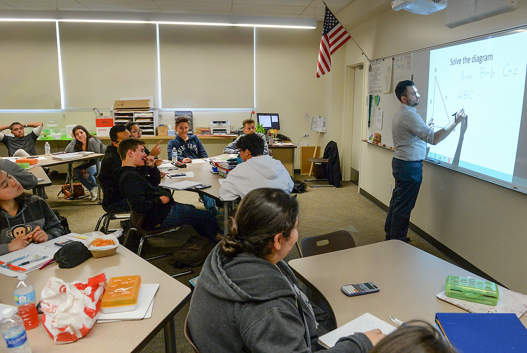 . Teacher Leonardo Manso uses an interactive board with his students in his Algebra 1 class at Nogales High School in La Puente on Wednesday April 12, 2017. Rowland Unified had one of the highest increases in graduation rate in the area. (Photo by Keith Durflinger/Whittier Daily News/SCNG)