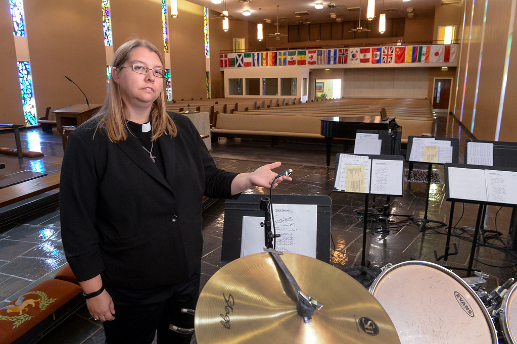 . Pastor Ashley Nicolls shows where burglars broke in and stole sound equipment and money at St. Andrew Lutheran Church in unincorporated South Whittier on Friday April 14, 2017. The thieve broke into the church Wednesday late afternoon stealing musical instruments, microphones, cash and gift cards that they use for donations to others. (Photo by Keith Durflinger/Whittier Daily News/SCNG)