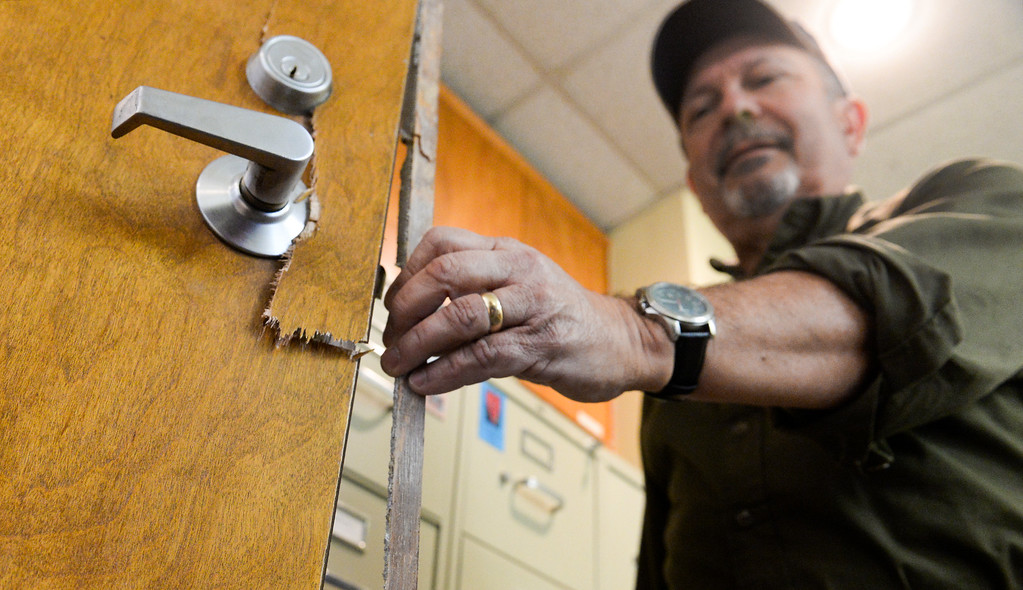 . Property manager Art Evueltas shows where thieves broke the office door at St. Andrew Lutheran Church in unincorporated South Whittier on Friday April 14, 2017. The thieve broke into the church Wednesday late afternoon stealing musical instruments, microphones, cash and gift cards that they use for donations to others. (Photo by Keith Durflinger/Whittier Daily News/SCNG)