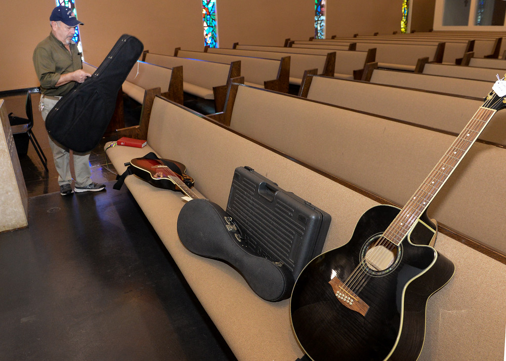 . Property manager Art Evueltas lines up the recovered stolen items at St. Anthony Lutheran Church in unincorporated South Whittier on Friday April 14, 2017. Thieves broke into the church Wednesday late afternoon and Los Angeles County Sheriff\'s detectives recovered the items. (Photo by Keith Durflinger/Whittier Daily News/SCNG)
