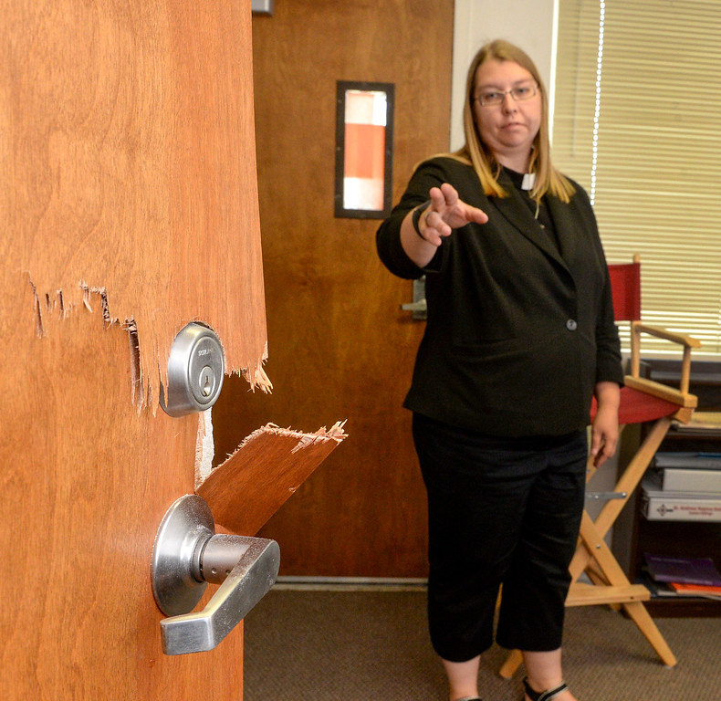 . Pastor Ashley Nicolls shows where burglars broke into their worship leader office where they stole several guitars at St. Andrew Lutheran Church in unincorporated South Whittier on Friday April 14, 2017. The thieve broke into the church Wednesday late afternoon stealing musical instruments, microphones, cash and gift cards that they use for donations to others. (Photo by Keith Durflinger/Whittier Daily News/SCNG)