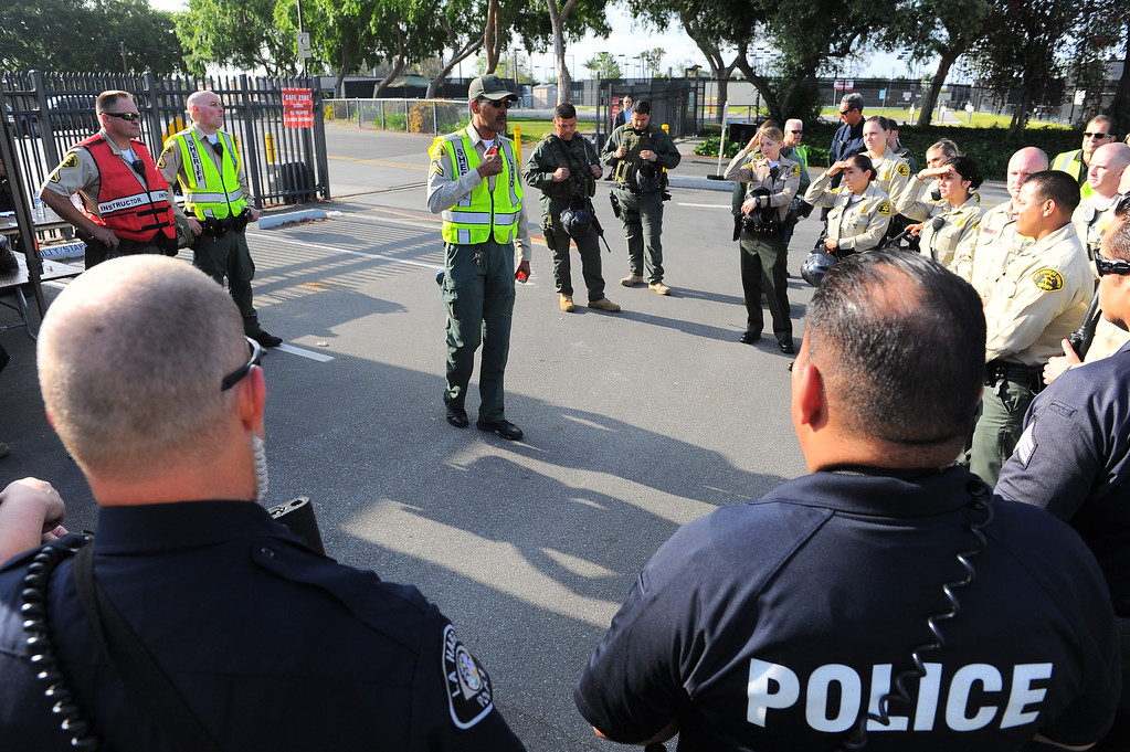 . The Los Angeles County Sheriff�s Department�s Tactic�s and Survival Unit, Norwalk Sheriff�s Station, Biola University officers and officers from neighboring agencies and the Los Angeles County Fire Department conduct an active shooter response drill at Biola University in La Mirada on Wednesday April 19, 2017. The training incorporated simulated gunfire, simulated injuries and role players in the university. (Photo by Keith Durflinger/Whittier Daily News/SCNG)