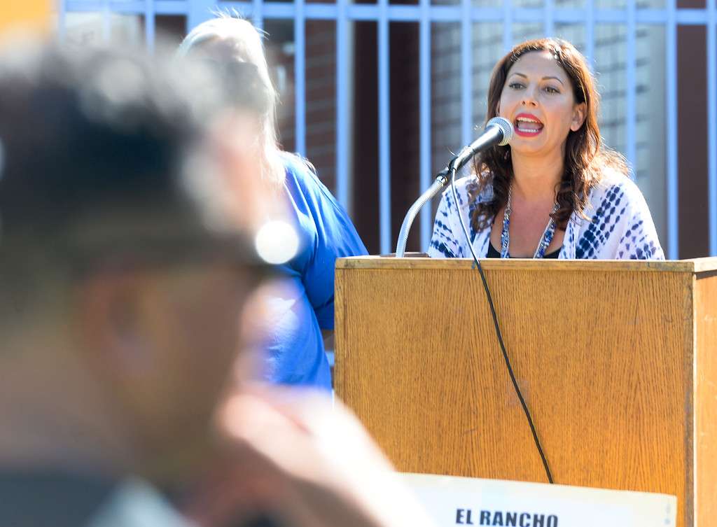 . First grade teacher Marisa Oste speaks to El Rancho Unified workers as they participate in a rally in support of unions, students and education at El Rancho High School in Pico Rivera on Monday May 1, 2017. (Photo by Keith Durflinger/Whittier Daily News/SCNG)