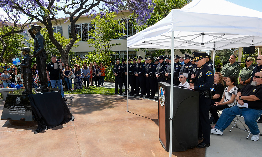 . The public attends the unveiling ceremony where the late Officer Keith Boyer�s name is be added to the Whittier Police Memorial during the Whittier Police Department Open House on Penn Street in Whittier on Saturday May 13, 2017. (Photo by Keith Durflinger/Whittier Daily News/SCNG)