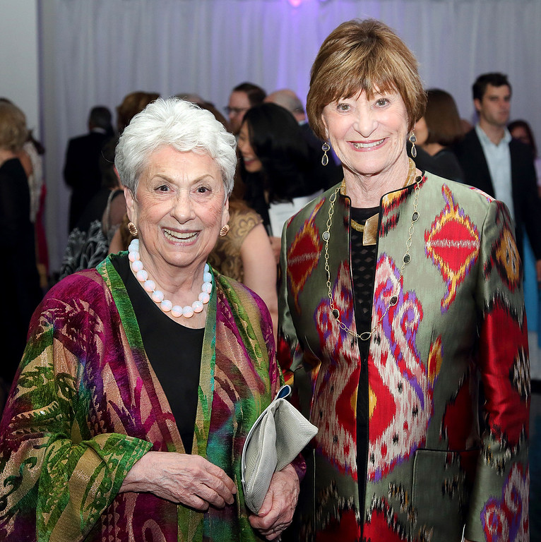. Alice Coulombe on the left and Carol Henry on the right both of Pasadena at the Colburn School Gala 2017 (Photos by Greg Grudt/Mathew Imaging)