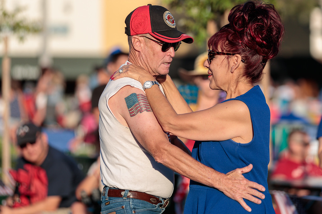 . Alan Patterson and Maggie Mendoza dance during the City of Monrovia 4th of July Concert and Fireworks Show at Liberty Park in Monrovia, Calif., on Tuesday July 4, 2017. (Photo by contributor Raul Romero Jr - raulromero@gmail.com)