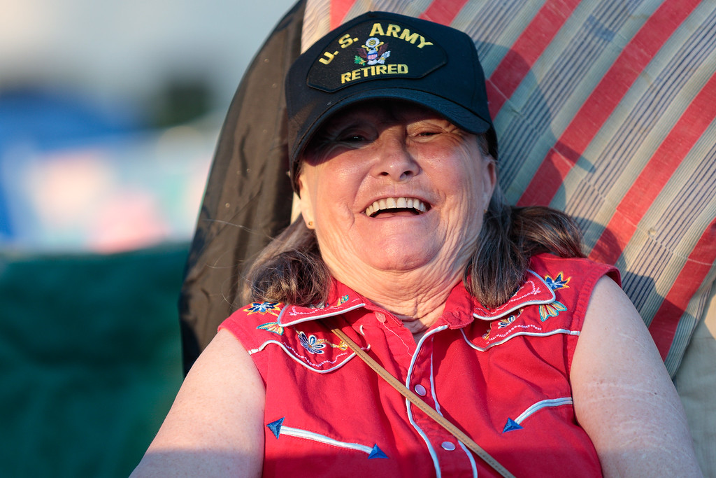 . Brenda Land reacts to the camera during the City of Monrovia 4th of July Concert and Fireworks Show at Liberty Park in Monrovia, Calif., on Tuesday July 4, 2017. (Photo by contributor Raul Romero Jr - raulromero@gmail.com)