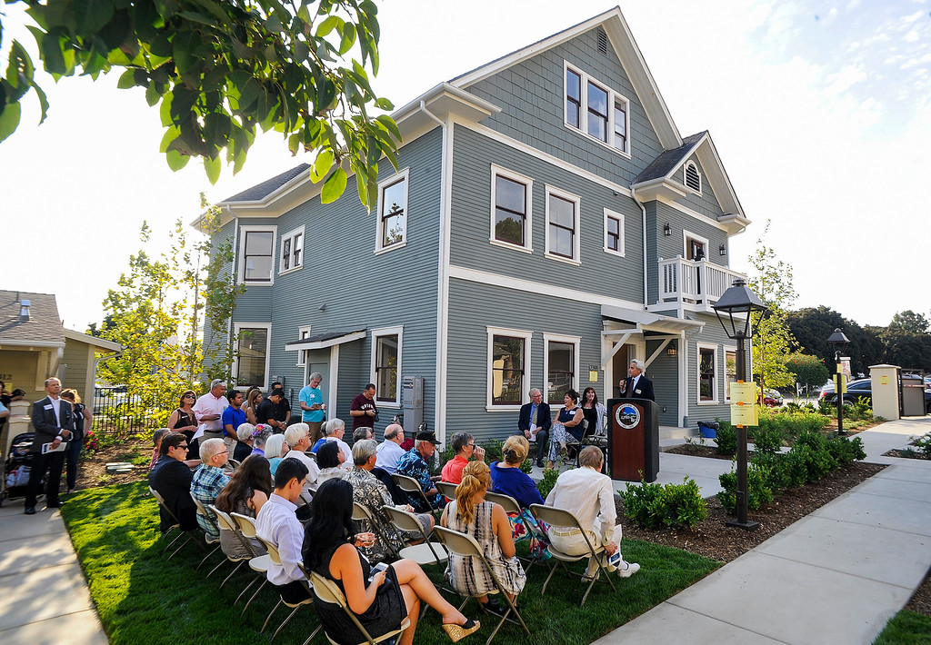 . Charles Loveman speaks during the rededication of the local historic landmark, Guilford Hall, at Comstock Avenue and Penn Street in Whittier on Thursday July 6, 2017. Guilford Hall, built in 1903, was moved from its second location at Whittier College to its current location at the Guilford Court complex where it is divided into two homes. (Photo by Keith Durflinger, Whittier Daily News/SCNG)