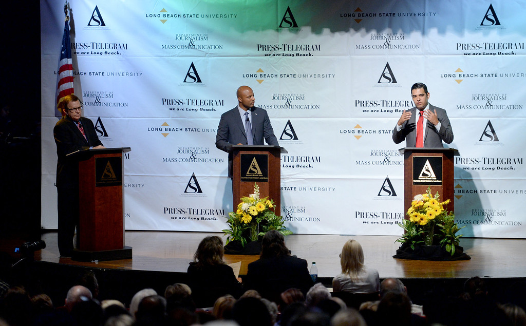 . Real estate investor Damon Dunn and Vice Mayor Robert Garcia participate in a debate at Cal State University Long Beach in Long Beach, CA. on Tuesday May 14, 2014. (Photo by Sean Hiller/ Daily Breeze).