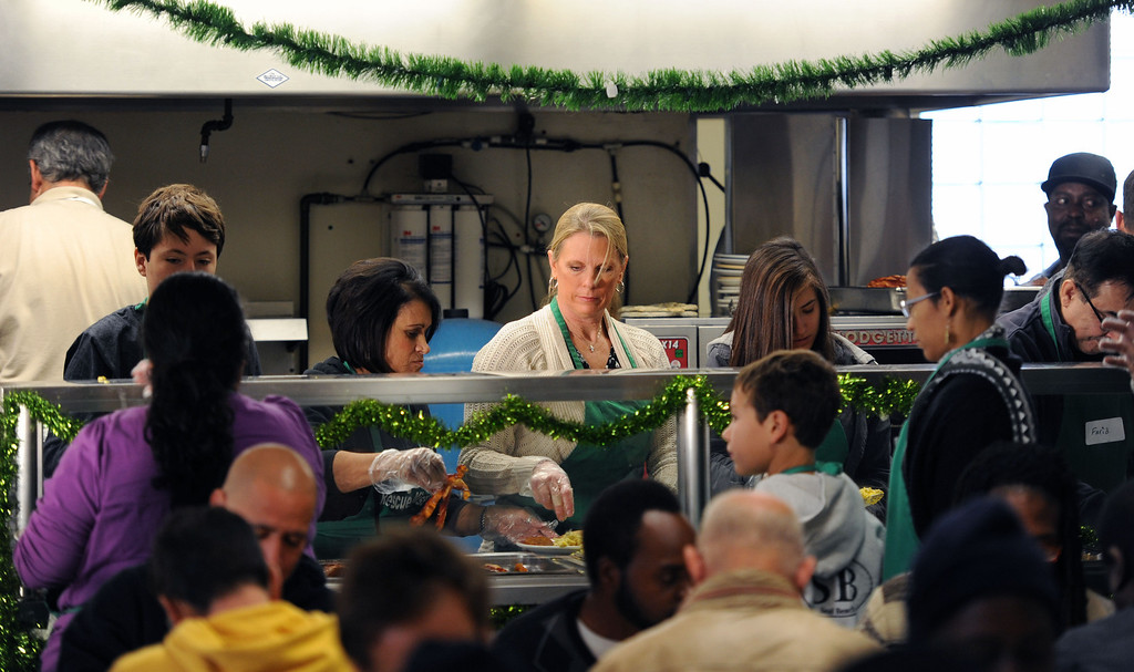 . The Long Beach Rescue Mission Christmas Breakfast Tuesday morning. The breakfast was held from 7 AM to 10 AM. and between 500 and 600 meals were served.  Long Beach, Calif. Tuesday, December 24, 2013.   (Photo by Stephen Carr / Daily Breeze)