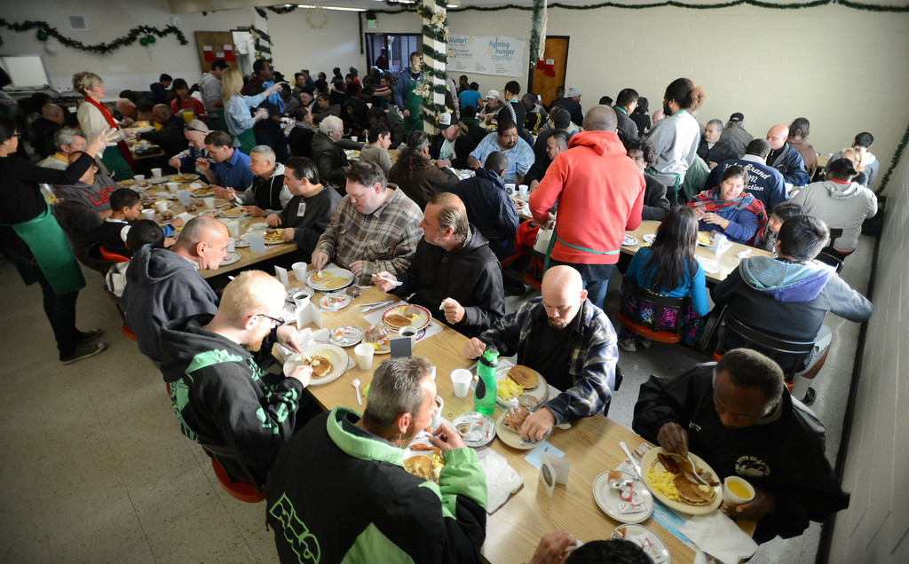 . The Long Beach Rescue Mission hosted a Christmas Breakfast Tuesday morning from 7 AM to 10 AM.  Between 500 and 600 meals were served.  Long Beach, Calif. Tuesday, December 24, 2013.   (Photo by Stephen Carr / Daily Breeze)