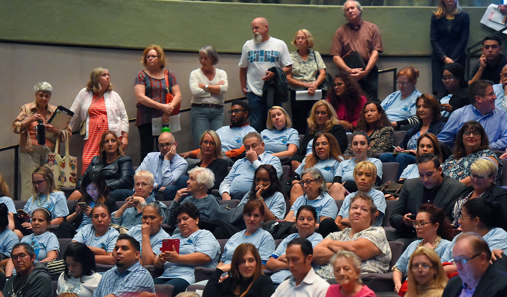 . Standing room only during a packed city council meeting in Long Beach on Tuesday, September 19, 2017. Among the items on the agenda were discussions on the Southeast Area Specific Plan (SEASP), an ordinance regarding hotels and their workers and Long Beach as a sanctuary city. (Photo by Scott Varley, Press-Telegram/SCNG)