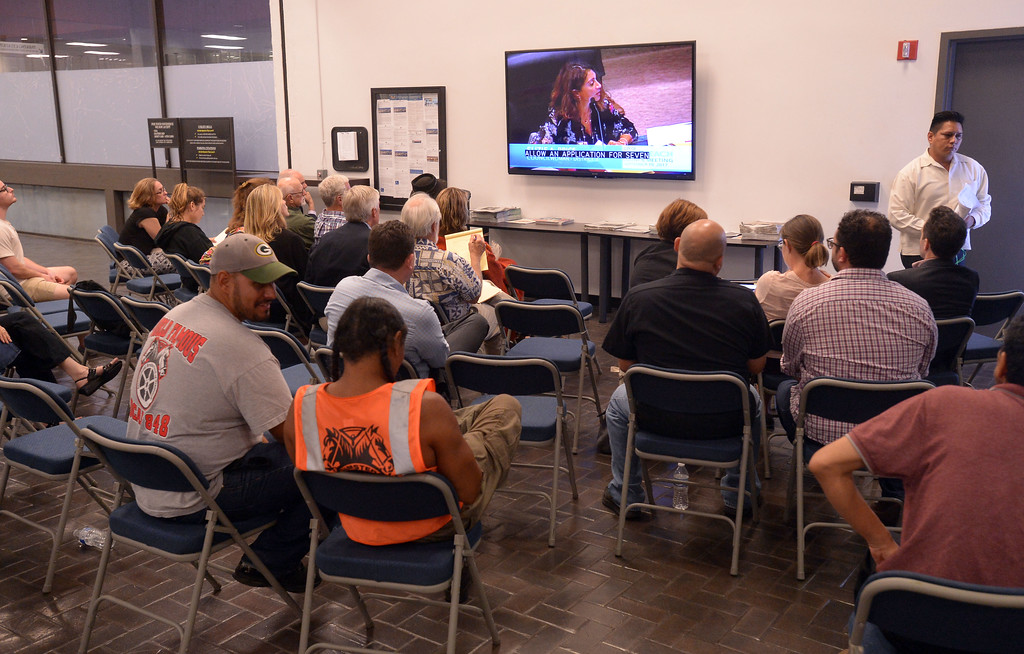 . An overflow crowd watches the proceedings in the city hall lobby during a city council meeting in Long Beach on Tuesday, September 19, 2017. Among the items on the agenda were discussions on the Southeast Area Specific Plan (SEASP), an ordinance regarding hotels and their workers and Long Beach as a sanctuary city. (Photo by Scott Varley, Press-Telegram/SCNG)