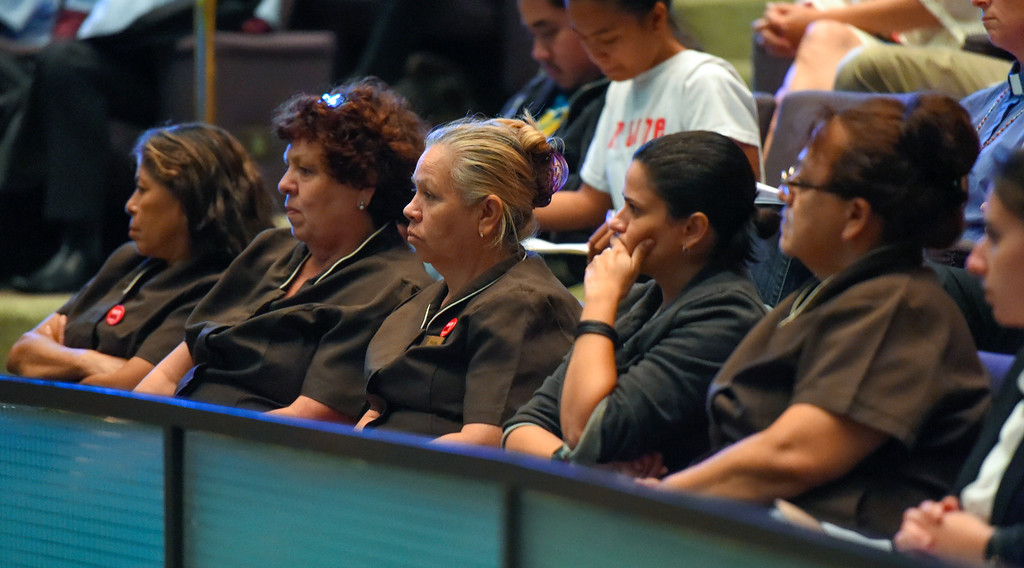 . Hotel workers listen to public input as they wait for their agenda item to come up during a city council meeting in Long Beach on Tuesday, September 19, 2017. Among the items on the agenda were discussions on the Southeast Area Specific Plan (SEASP), an ordinance regarding hotels and their workers and Long Beach as a sanctuary city. (Photo by Scott Varley, Press-Telegram/SCNG)