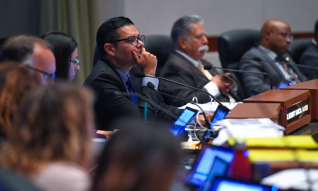 . Mayor Robert Garcia listens to public input during a city council meeting in Long Beach on Tuesday, September 19, 2017. Among the items on the agenda were discussions on the Southeast Area Specific Plan (SEASP), an ordinance regarding hotels and their workers and Long Beach as a sanctuary city. (Photo by Scott Varley, Press-Telegram/SCNG)