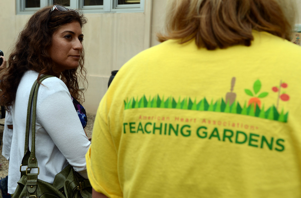 . A group touring Longfellow Elementary School makes its way through one of the schools gardens as U.S. Dept. of Education and state officials visit the Long Beach school because they\'ve won green ribbon awards for their environmental sustainability efforts in Long Beach CA. Tuesday September 18, 2013. (Photo by Thomas R. Cordova/ Press-Telegram)