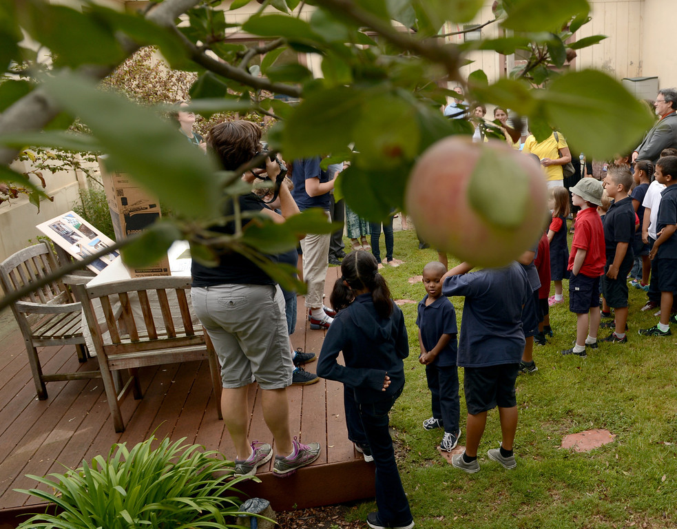 . 0918-NWS-LPT-L-GREEN-03-TRC A group touring Longfellow Elementary School makes its way through one of the schools gardens as U.S. Dept. of Education and state officials visit the Long Beach school because they\'ve won green ribbon awards for their environmental sustainability efforts in Long Beach CA. Tuesday September 18, 2013. (Photo by Thomas R. Cordova/ Daily Breeze)