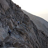 Cam and Kenzie finishing up the Narrows section of the Keyhole route on Longs Peak.