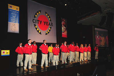 City Year Corps Members on stage - Opening Ceremonies National Leadership Conference and Summit Photo: Jennifer Cogswell