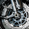 Detail of Motorcycle Front Wheel and Brake Disc, Coleman Powersports, Falls Church, Virginia