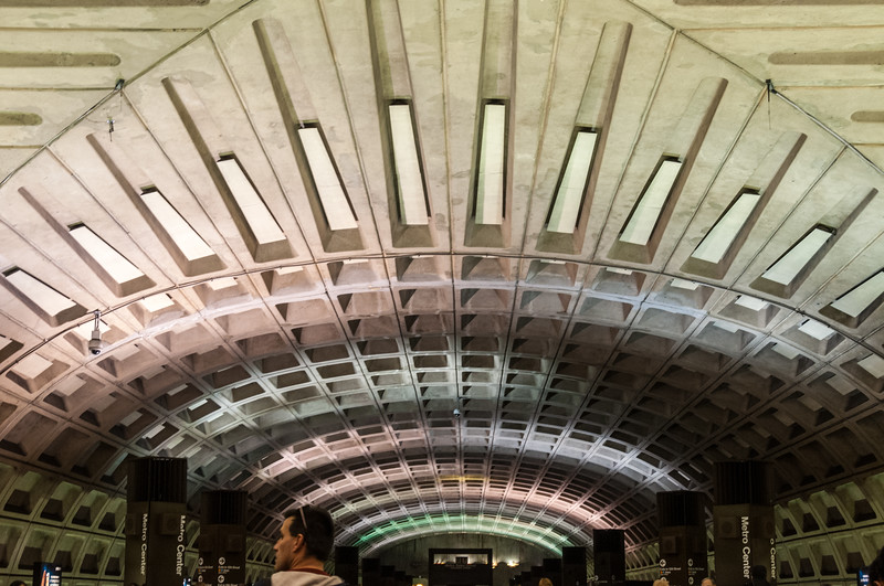 Departing train under intersection of ceiling vaults, Metro Center Station, Washington Metropolitan Area Transit Authority, DC