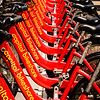 Capital Bikeshare Bycicles in Rack, G Street NW, Washington DC