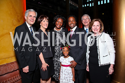 TX Rep. Lloyd Doggett and Co-Chair Libby Doggett, Nikki, Lauren, and Densel Fleming, MS Sen. Roger Wicker and Co-Chair Gayle Wicker. Photo by Tony Powell. Gourmet Gala. Building Museum. May 4, 2011