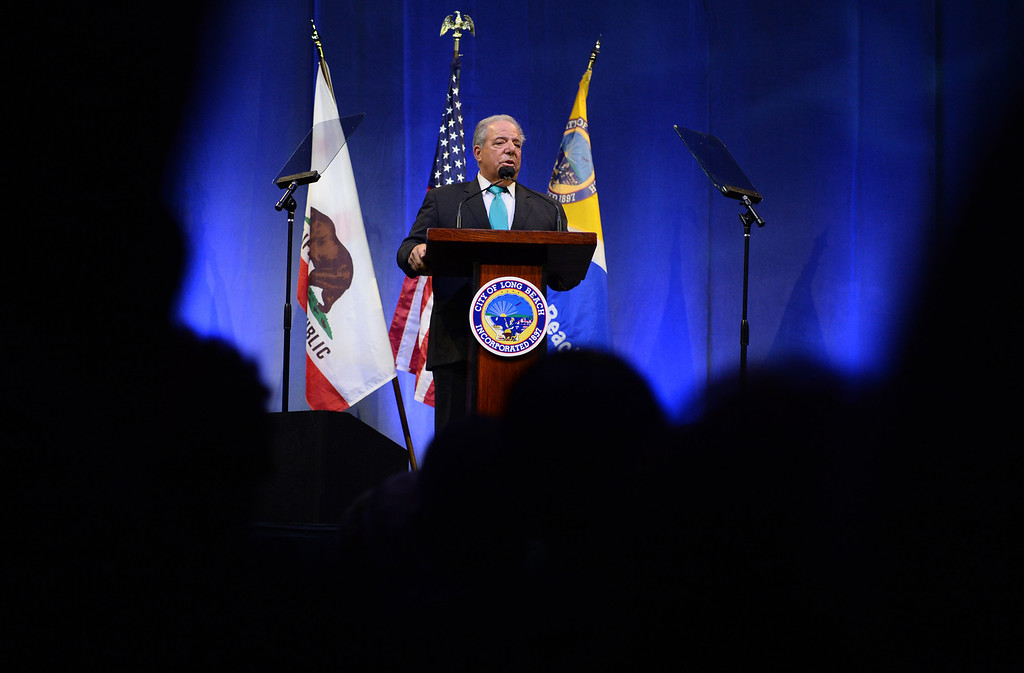 . Mayor Foster delivers his last State of the City annual address at the Pacific Ballroom at the Long Beach Arena in Long Beach, CA. on Tuesday, January 14, 2014. (Photo by Sean Hiller/ Daily Breeze).