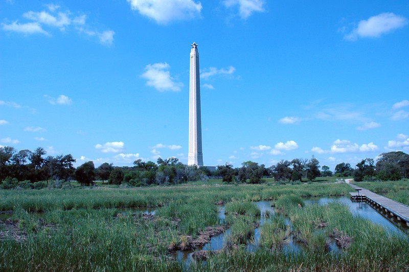 San Jacinto Monument from Marsh Boardwalk