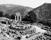 The ruins of the Sanctuary of Athena Pronaia at Delphi in Greece as seen from above.