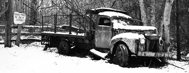 """An old broken-down truck in the snow next to a sign titled """"Dogs Must Be On A Leash.""""  (Scanned from black and white film.)"""