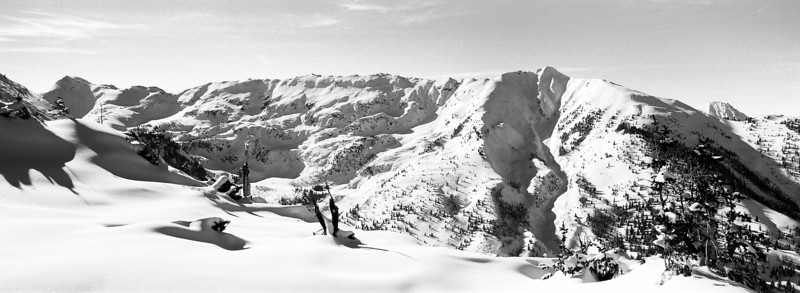 An unknown mountain, possibly Mount Willoughby, with a long summit ridge and a nice texture of snow fields. Viewed from the backside of the Snowmass ski resort. (Scanned from black and white film.)
