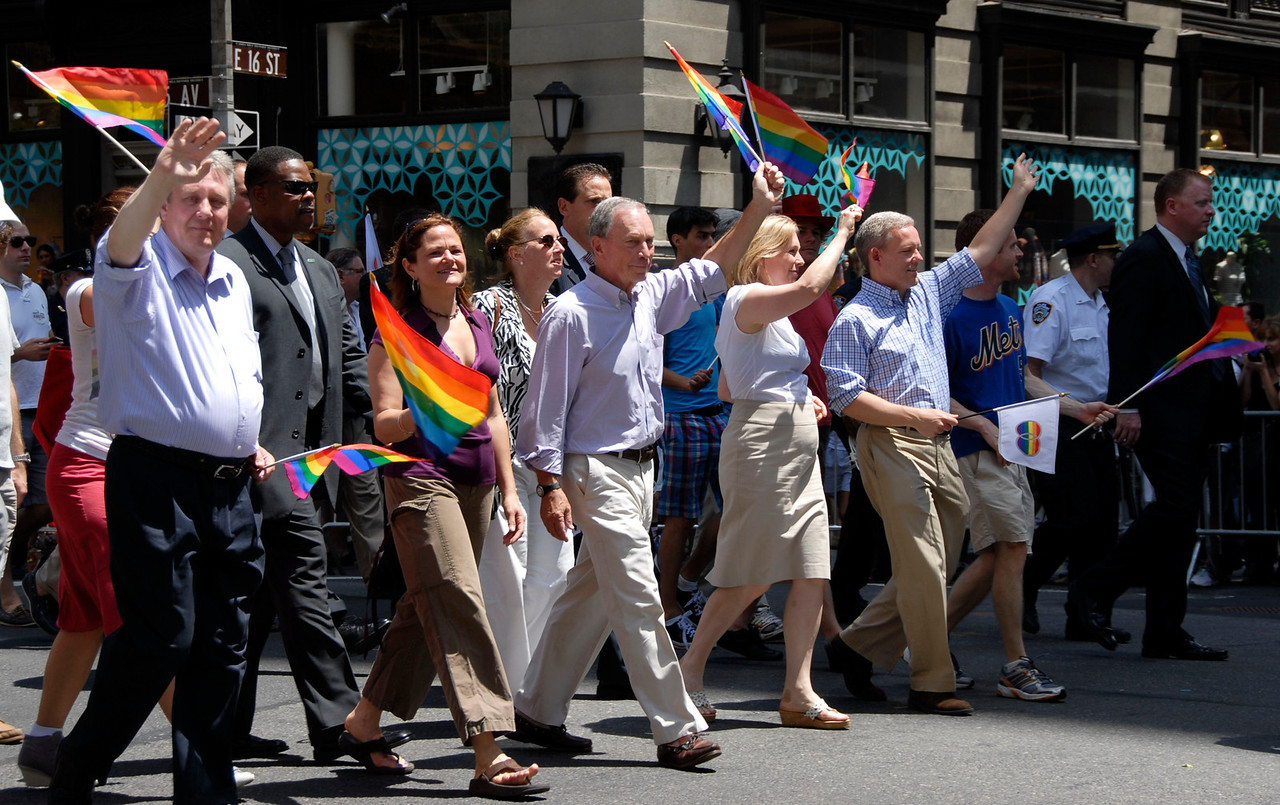 """Center, NYC Mayor Mike Bloomberg, """"New York is a place where you can do whatever you want to do,"""" Mayor Michael Bloomberg declared before he joined the Fifth Avenue parade at noon. He said he had a message for the rest of America: """"The government should get out of your personal life."""" Pictured on his right NY Senator Kirsten Gilibrand."""