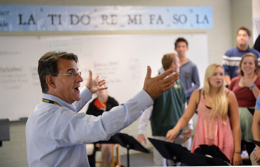. Michael Hayden is a music teacher at Mira Costa High School. He hasbeen selected as California Teacher of the Year. Choir rehearsal room.  (Mon. Nov. 4, 2013 Photo by Brad Graverson/The Daily Breeze)