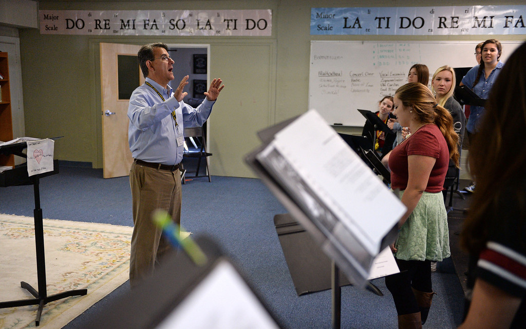 . Michael Hayden is a music teacher at Mira Costa High School. He has been selected as California Teacher of the Year. Choir rehearsal room.  (Mon. Nov. 4, 2013 Photo by Brad Graverson/The Daily Breeze)