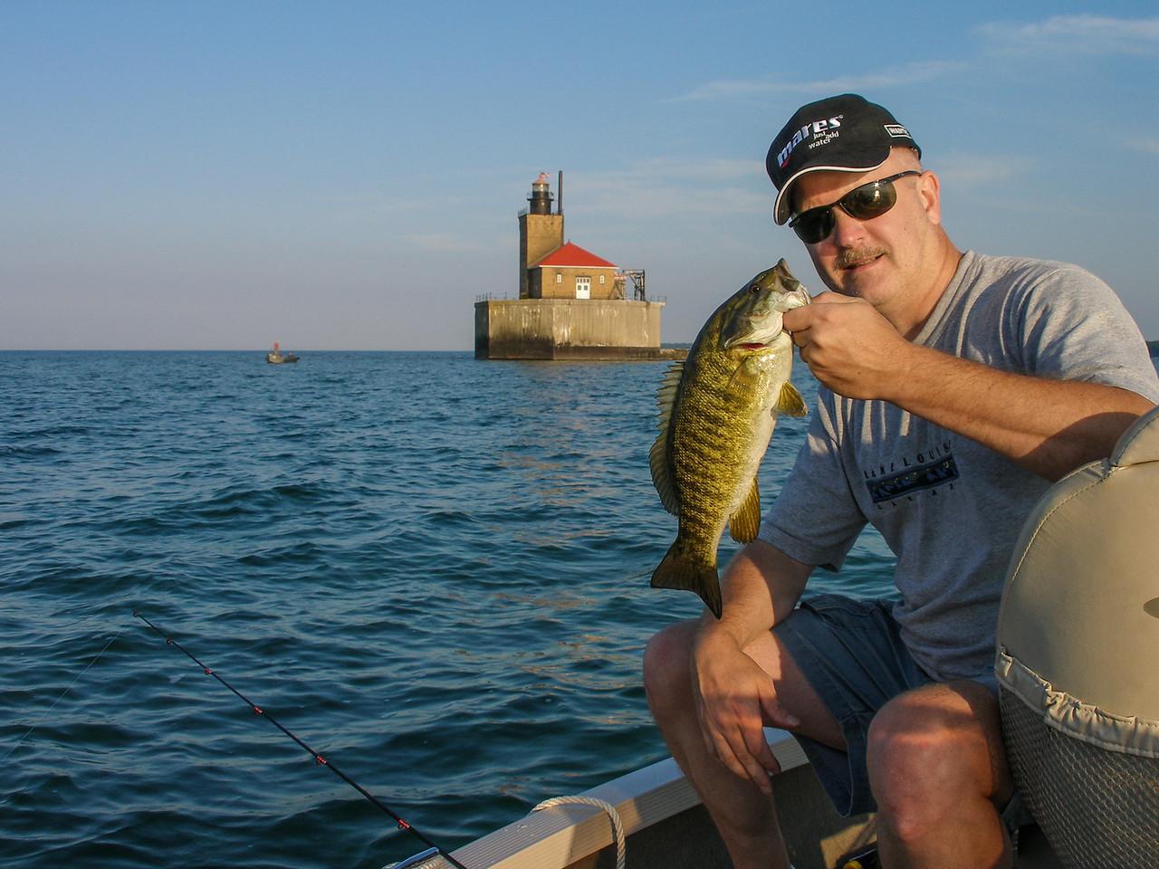 Smallmouth Bass caught near Port Austin Reef Lighthouse - September 2009