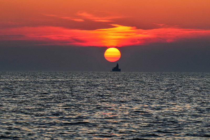 Sun setting over Port Austin Reef Lighthouse - September 2009