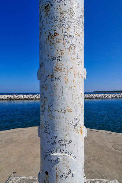 Markings on pole at the end of Port Austin Breakwall - September 2009