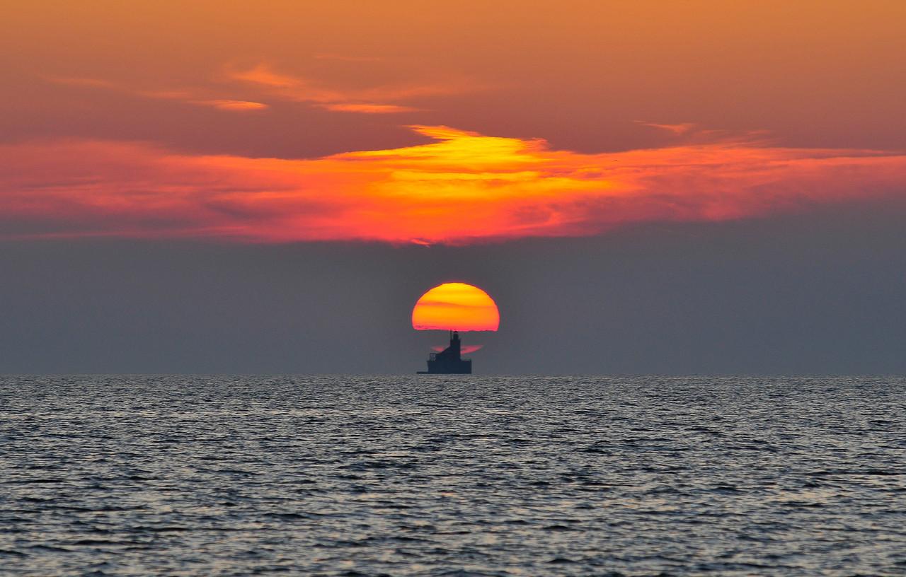 Sun setting over Port Austin Reef Lighthouse - September 2009