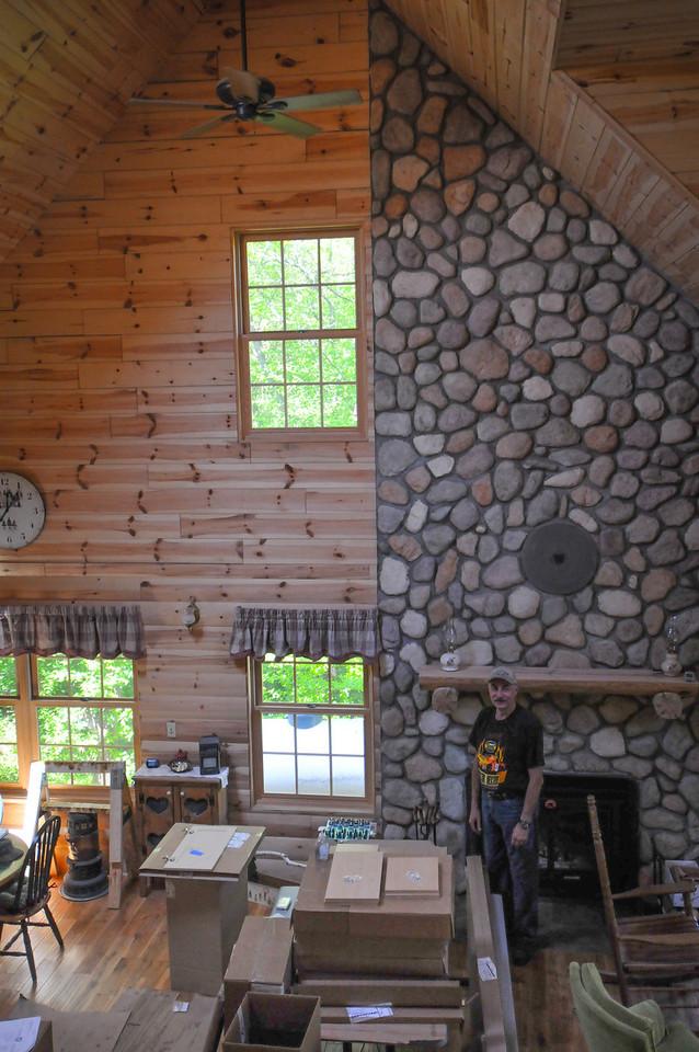 Jim Mandziuk inside the log home he built - May 2009
