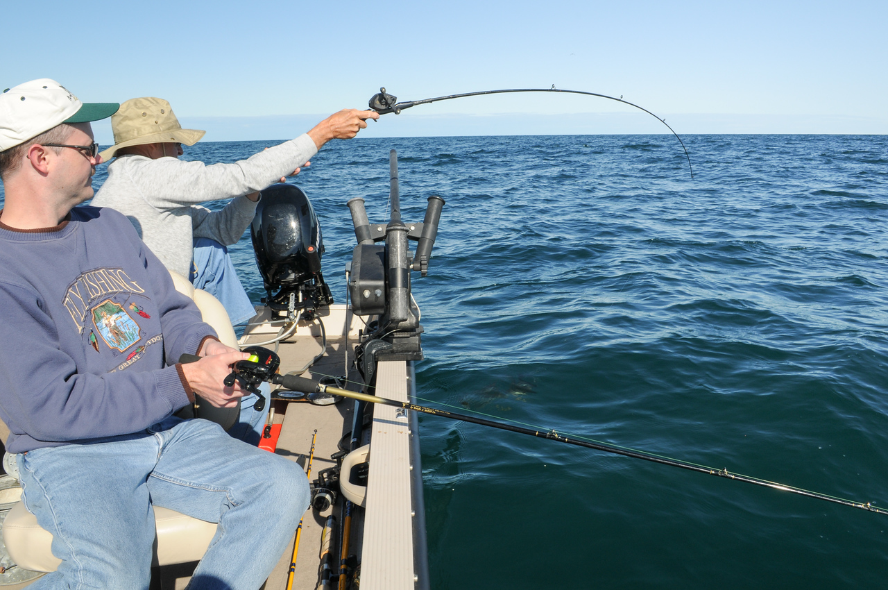 Dad fighting a Smallmouth - September 2008