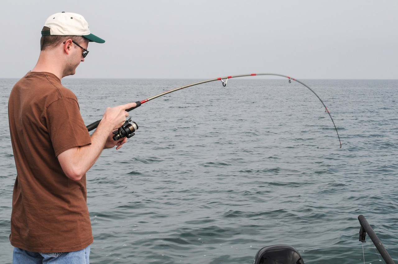 Eric fighting a Smallmouth - September 2008