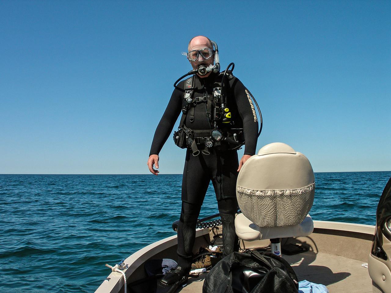 Shot taken right before diving into a rude awakening...44 degree water!  Lake Huron - May 2007