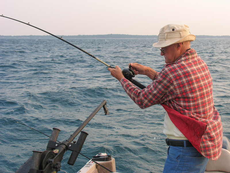 Dad fighting Smallmouth Bass - August 2007