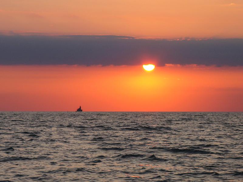 Sunset over Port Austin Reef Lighthouse - September 2007