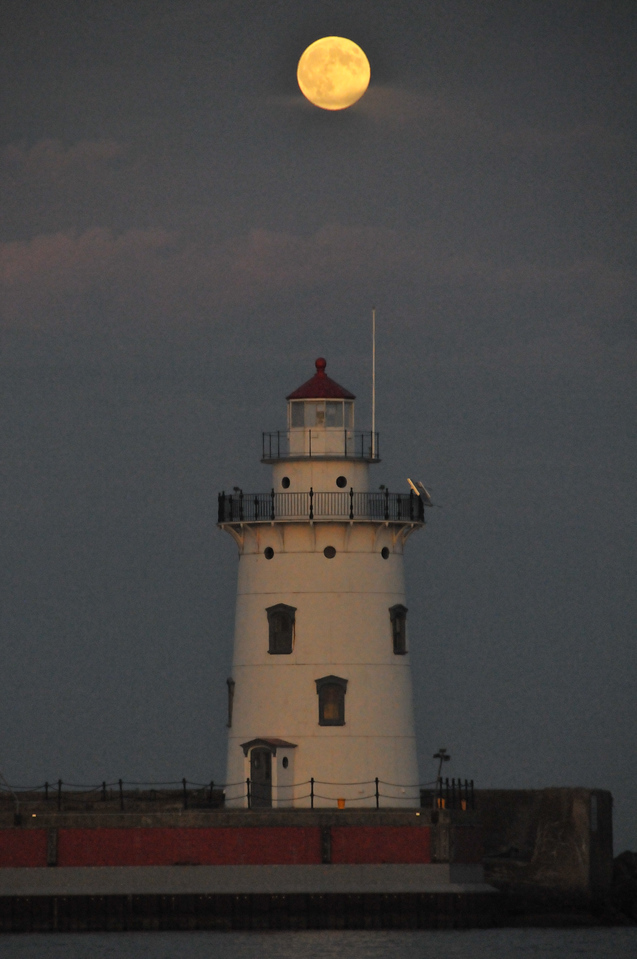 Harbor Beach Lighthouse with Moon - October 2011