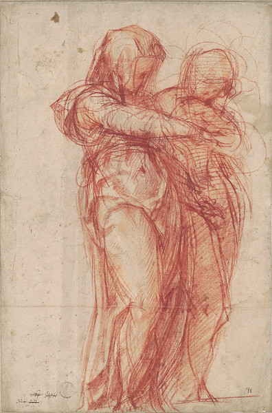 Jacopo Pontormo (1494–1557)<br /> Two Standing Women, after 1530(?)<br /> <br /> An outstanding example of Pontormo's Mannerist style, this drawing is remarkable for its dynamism. It may be preparatory for one of the artist's enigmatic depictions of the Visitation, envisioning the meeting of the pregnant Virgin Mary with her cousin Elizabeth. The abstraction of form, bold linearity, and tension between the figures contribute to the powerful appeal of this sheet.
