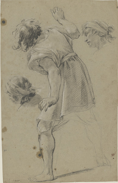 "Simon Vouet (1590–1649)<br /> Man Bending Over in Three-Quarter View, Two Heads with Turbans, ca. 1636<br /> <br /> This luminous drawing likely served as preparation for one of Vouet's most ambitious and lauded fresco commissions. Depicting the Adoration of the Magi, the frescoes adorned the chapel of the Hôtel Séguier, the private residence of Pierre Séguier, chancellor of France under Louis XIII and a preeminent patron of the arts. The chapel, now destroyed, was described by the eighteenth-century collector Dézallier d'Argenville as meriting ""the attention of connoisseurs [because of] the beauty of his paintings and…the clarity of its gilding as fresh as if they were newly painted."""