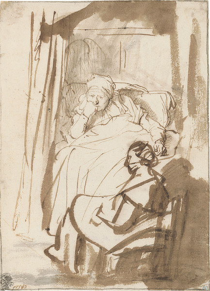 Rembrandt Harmensz. van Rijn (1606–1669)<br /> Saskia Lying in Bed, a Woman Sitting at Her Feet, ca. 1638<br /> <br /> The exhibition includes three works from Munich's collection of drawings by Rembrandt. The bedridden woman in this study, the most personal by the artist that is on view in the show, is most likely his wife Saskia, who was often ill or sapped of energy by her four pregnancies. Saskia's precisely observed likeness, rendered by a fine pen, is juxtaposed to that of her maid in the foreground, whose figure was added in a rather cursory fashion with broad strokes of the brush. The contrast between these two drawing techniques sharpens the focus of the composition on Saskia's pensive face.