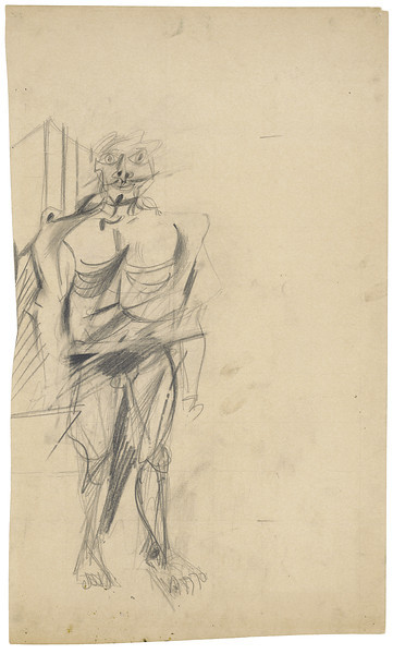 Willem de Kooning (1904–1997)<br /> Standing Man, ca. 1951 <br /> <br /> The mask-like face of the figure in this study became one of the hallmarks of de Kooning's Woman series, which laid the groundwork for a style—essentially a synthesis of abstraction and figuration—that revolutionized abstract art. The stylized ribs of the figure in this drawing were to reappear later in the artist's crucifixion scenes of the early 1950s.